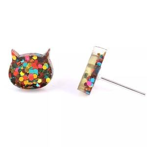 Jewelry - Glitter Kitty Earrings Ear Studs. 🆕